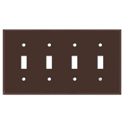 4 Toggle Wall Plate Covers - Brown