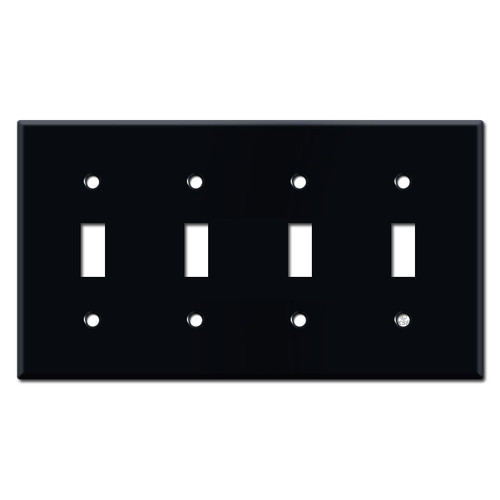 4 Toggle Wall Plates - Black