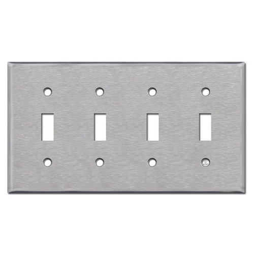 4 Gang Stainless Steel Toggle Switch Plate