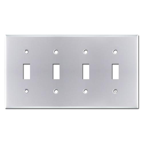 4 Toggle Switch Plate Covers - Polished Chrome