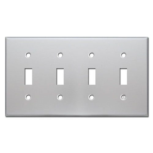 4 Toggle Switch Plate Cover - Brushed Aluminum