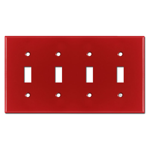 4 Toggle Switch Plate - Red
