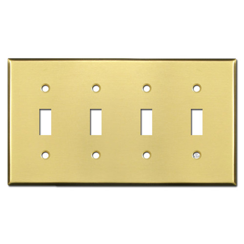 4 Toggle Light Switch Covers - Satin Brass