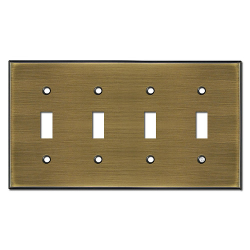 4 Toggle Switch Plate - Antique Brass