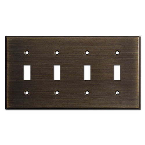 4 Toggle Switch Plates - Oil Rubbed Bronze