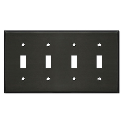 4 Gang Toggle Switch Plates - Dark Bronze