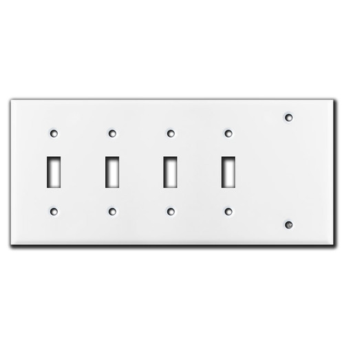 4 Toggle 1 Blank Switch Plate - White
