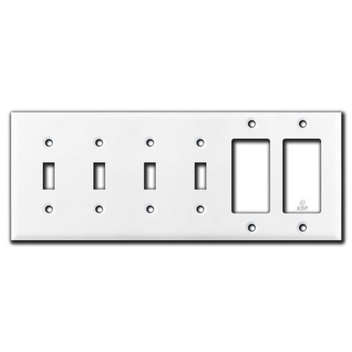 4 Toggle & 2 Decora Rocker Switch Wall Plate - White