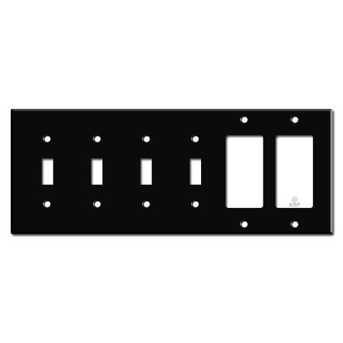 4 Toggle 2 Decora Rocker Light Switch Wall Plate - Black