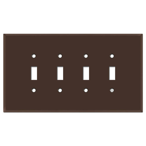Oversized 4 Toggle Light Switch Cover - Brown