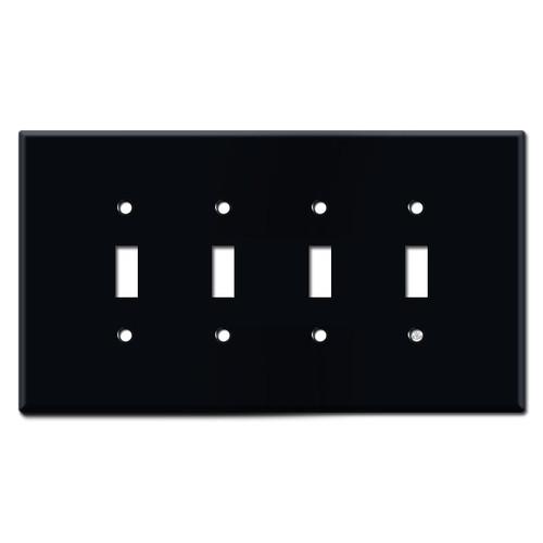 Oversized 4 Toggle Switch Plates - Black