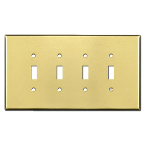 Oversized 4 Toggle Switchplate - Satin Brass