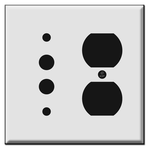 Combination Pushbutton and Duplex Outlet Wall Switch Plate Covers