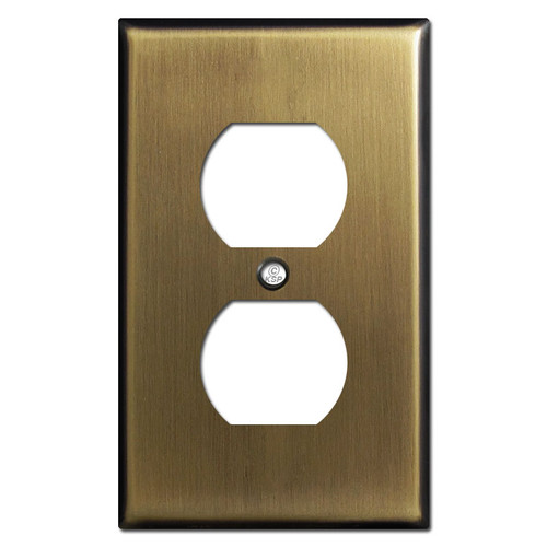 1 Duplex Outlet Covers - Antique Brass