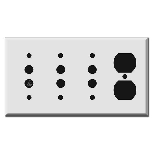 Combination 3 Pushbutton and 1 Duplex Outlet Switch Plates