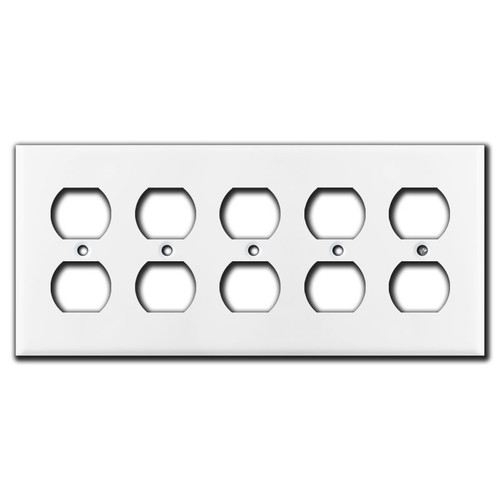 5 Outlet Switch Plate - White