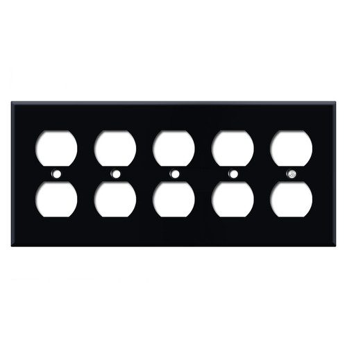 5 Gang Duplex Outlet Wall Plates - Black