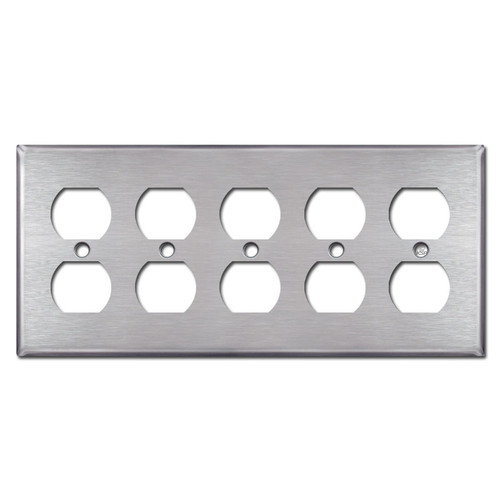 5 Duplex Outlet Covers - Satin Stainless Steel