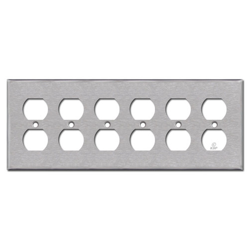 6 Gang Duplex Outlet Plate Covers - Satin Stainless Steel