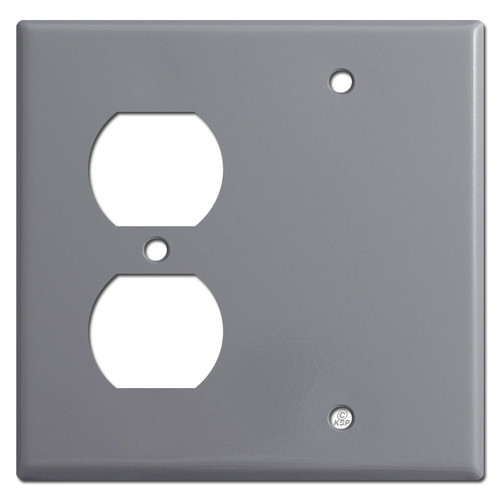 Duplex Blank Switch Plate - Gray