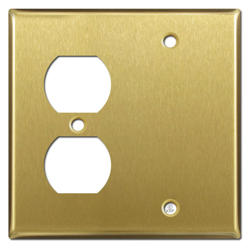 1 Duplex 1 Blank Switch Plate - Satin Brass