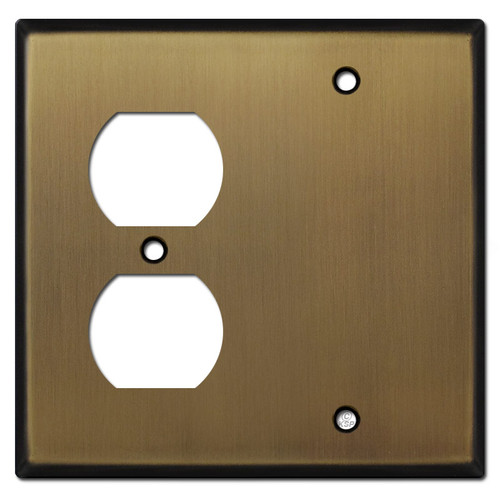 1 Duplex Outlet 1 Blank Cover Plates - Antique Brass