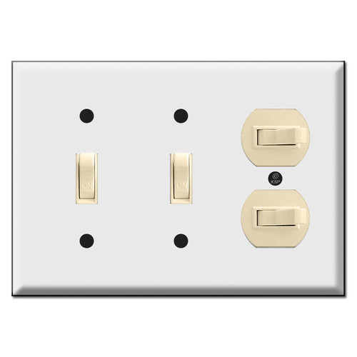 Combo Wall Switch Plates with 4 Up / Down and Sideways Toggle Switches (switches not included)