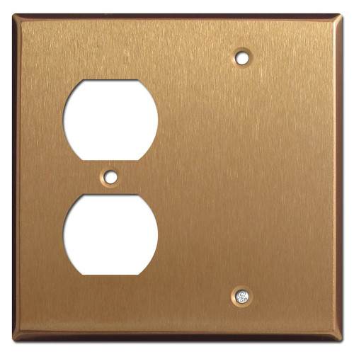 Single Duplex Outlet Single Blank Faceplate - Satin Bronze