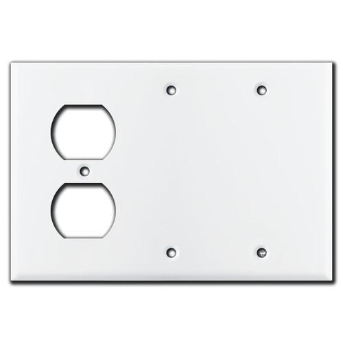 1 Duplex 2 Blank Wall Plates - White