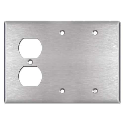 Single Outlet Double Blank Cover Plates - Satin Stainless Steel