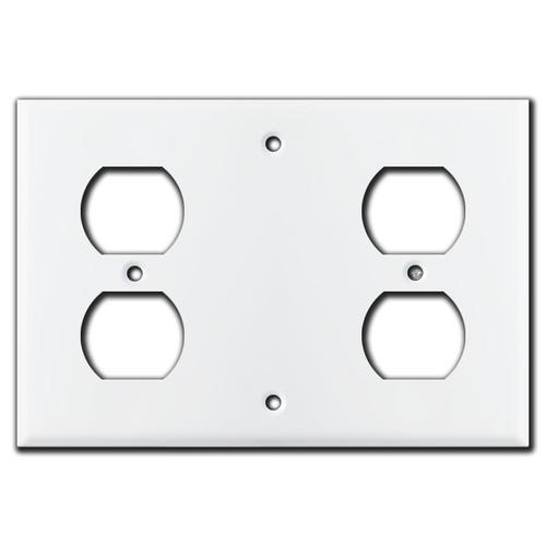 Duplex Blank Duplex Combination Wall Cover Plates - White