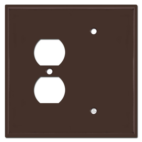 Jumbo Single Outlet Single Blank Plate Covers - Brown