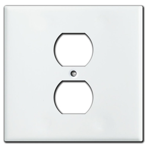 2 Gang 1 Centered Duplex Cover Plates - White