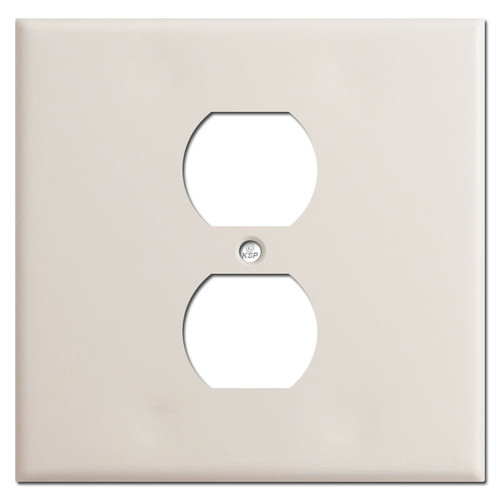 2 Gang 1 Centered Outlet Wall Plates - Light Almond