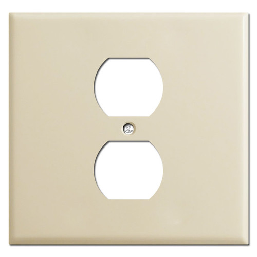 2 Gang 1 Center Duplex Wall Cover - Ivory