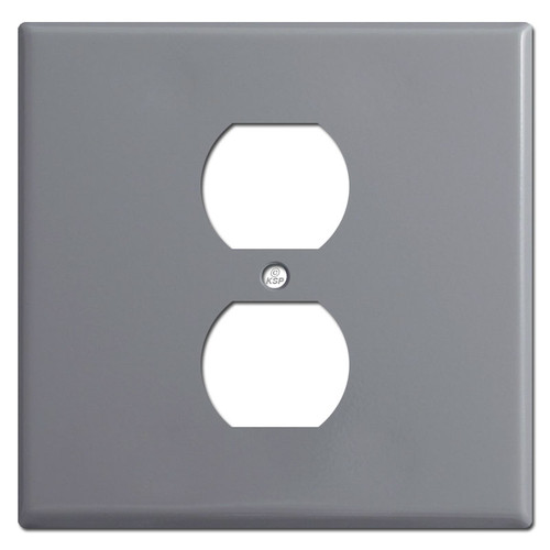 Double Gang Single Centered Outlet Wall Cover - Gray