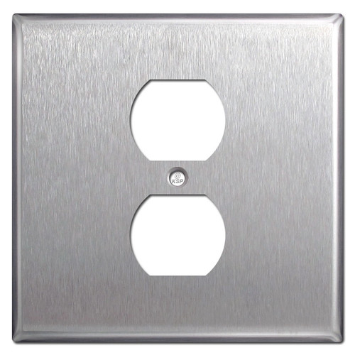 Wide Centered Duplex Outlet Cover Plate in Stainless Steel