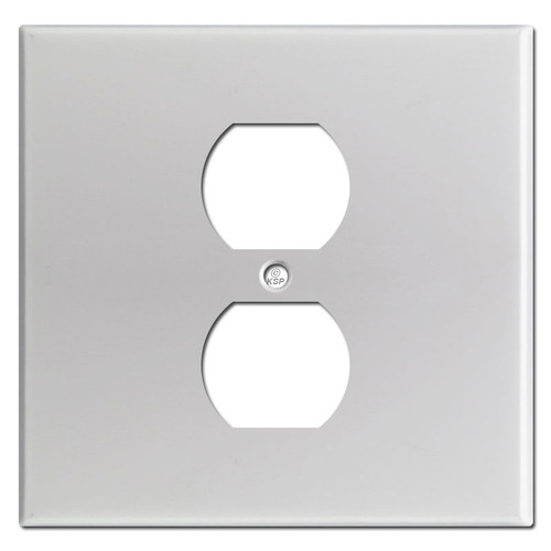 Wider Single Outlet Cover Plate - Brushed Aluminum