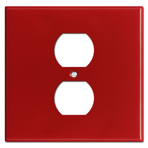 Double Gang Single Center Duplex Wallplates - Red