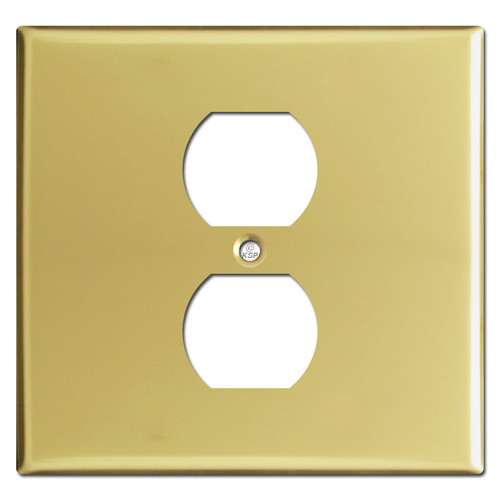 Double Gang Single Center Outlet Covers - Polished Brass