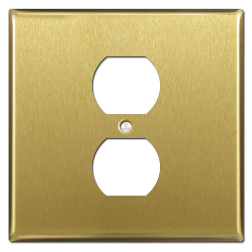 Two Gang One Centered Duplex Wall Cover - Satin Brass