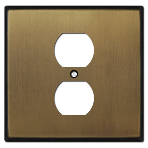 Two Gang One Centered Outlet Wall Plates - Antique Brass