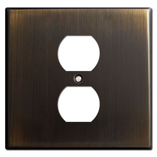 Two Gang One Center Duplex Switch Plates - Oil Rubbed Bronze