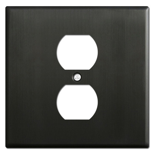 Two Gang One Center Outlet Faceplate - Dark Bronze
