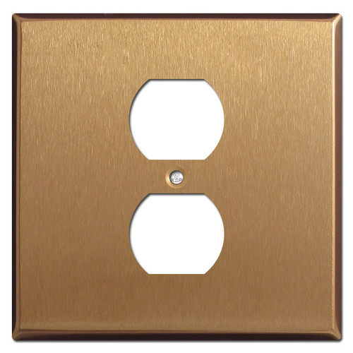 Two Gang One Center Duplex Outlet Cover - Satin Bronze