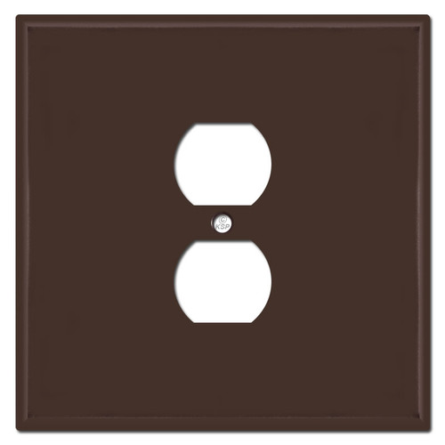 Oversized Double Gang Single Centered Outlet Cover - Brown