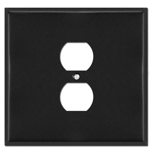 Jumbo Two Gang One Centered Duplex Wall Cover - Black