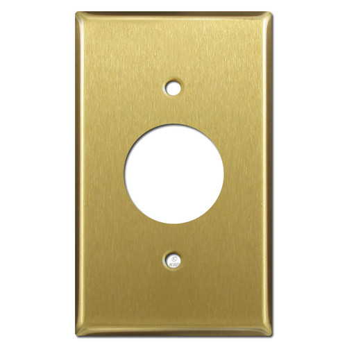 One Electrical Plug Plate Covers - Satin Brass