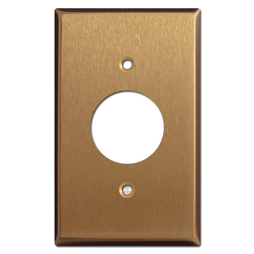 Single Electrical Plug Cover Plate - Satin Bronze