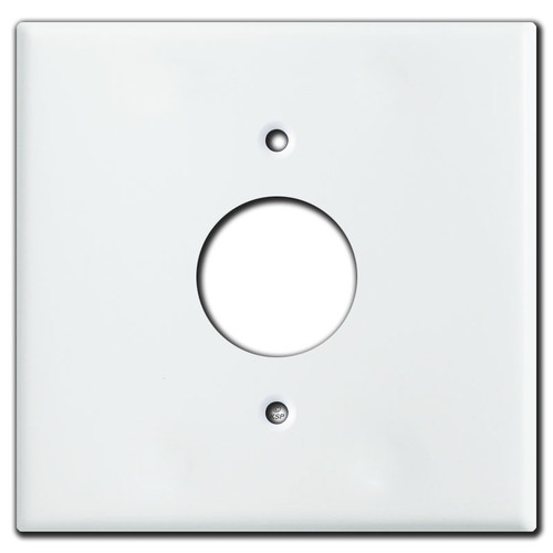 2 Gang 1 Centered Single Receptacle Wall Plate Covers - White